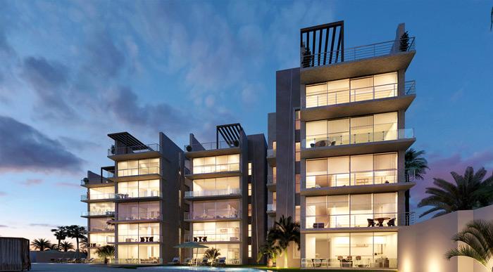 render nocturno de edificios proyecto Naha render por eva3d