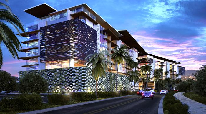 render nocturno edificio arquitectura moderna diseñado por A+A Arquitectos render por eva3d